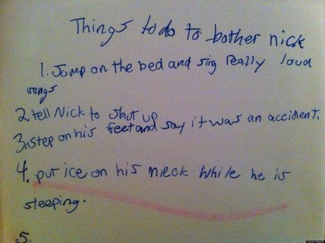 LOOK: Little Girl's Cheat Sheet For Annoying Her Brother | It's Show Prep for Radio | Scoop.it
