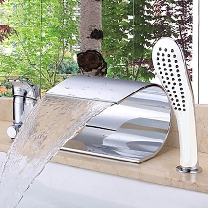 Single Handle Ceramic Valve Contemporary Chrome Finish Roman Tub Waterfall Bathtub Faucet-- Faucetsmall.com | Shower Faucets & Bathtub Faucets | Scoop.it