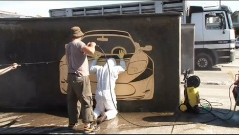 "Artists create amazing ""reverse graffiti"" car art using pollution and a power washer 