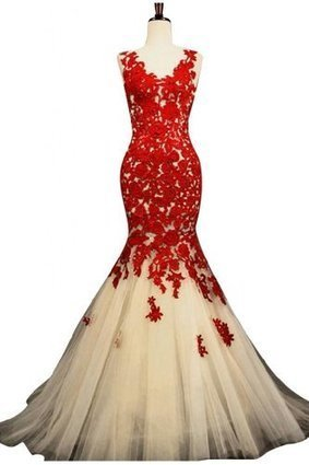 Sunvary Champagne and Red Mermaid Lace Prom Dresses for Evening Formal Gowns Long | Summer Dresses | Scoop.it