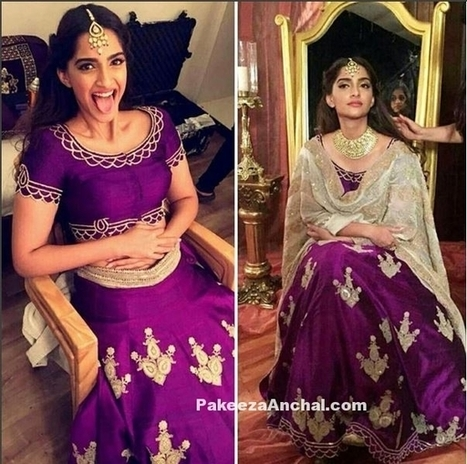 Sonam Kapoor in Purple Lehenga Choli in Anamika Khanna for an Ad Shoot | Indian Fashion Updates | Scoop.it