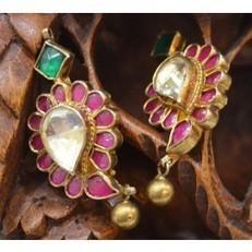 Kundan Earrings in Gold Plated Pure Silver Online Shopping : Madhurya   Kurtis, Sarees, Jewellery   Scoop.it