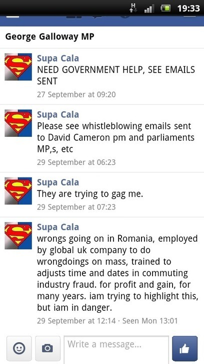 DISCLOSURE MADE TO GEORGE GALLOWAY MP, TWITTER, FACEBOOK, EMAIL. | SUPACALA1, INDUSTRIAL FRAUD WHISTLE-BLOWER | Scoop.it
