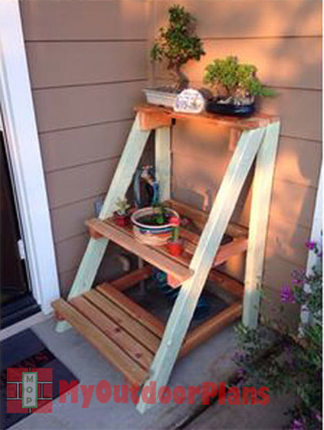 Outdoor Plant Stand | Free Outdoor Plans - DIY Shed, Wooden Playhouse, Bbq, Woodworking Projects | Garden Plans | Scoop.it