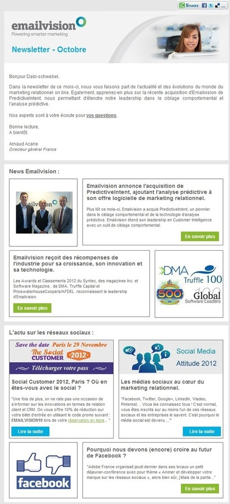 La newsletter d'EmailVision: l'email sans la vision | Agence 1min30, Inbound marketing et communication digitale à Paris | Developpement durable, energies alternatives et vehicules électriques | Scoop.it