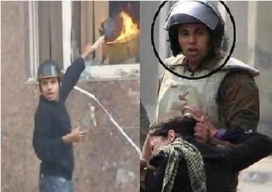Deux photos censées représenter le même militaire appréhendant violemment une femme, et jetant un flambeau dans l'Institut scientifique   Égypt-actus   Scoop.it
