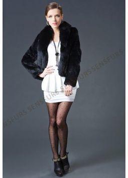 Women's Furs :: Fur Jackets :: Rabbit :: Rex Rabbit Jacket With Fox Fur & Tan Sheep Wool Shawl Collar Plus Tan Wool Trim - | furs | Scoop.it