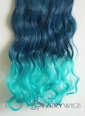 18 Inches Wavy Dark Blue to Peacock Green Synthetic Ombre Hair Extensions : fairywigs.com | Hair Extensions | Scoop.it