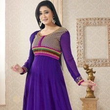 Purple Pure Georgette Shweta Tiwari Salwar Kameez | Strollay.com | Scoop.it