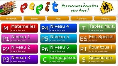 PEPIT des exercices éducatifs de la maternelle au secondaire | Activités en ligne pour l'école primaire | Scoop.it