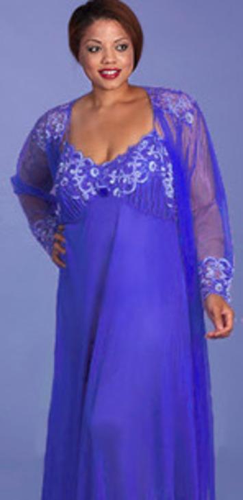 Plus Size Lingerie | Stunning Cobalt Nightgown Peignoir | Lingerie Love | Scoop.it