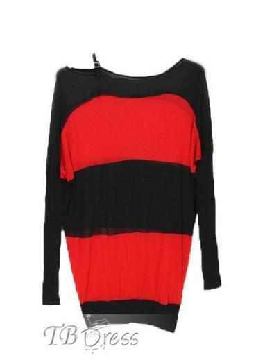 $ 42.39 TBdress Design Absorbing Color Block Long Sleeves Single-straped Knitted Dress | peaceful lady | Scoop.it