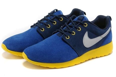 Nike Roshe Run Women Shoes Blue Black Yellow | Cheap KD Shoes | Scoop.it