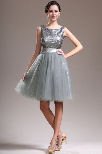 Silver Scoop Knee Length Tulle A Line Cocktail Dress With Sequin Oet0032   Alizee's Fashion World   Scoop.it