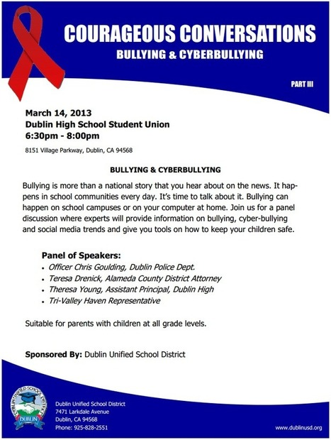 Cyber Bullying Courageous Conversation Coming to Dublin High ... | Depression, Bullying, Self Harm. | Scoop.it