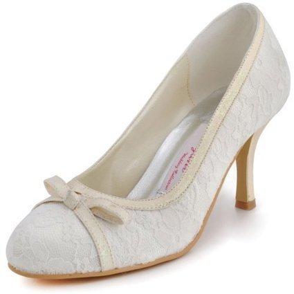 Elegantpark EL-029 Women's Bridal Round Toe Pumps Glitter High Heel Lace Bows Wedding Shoes   Wedding Shoes   Scoop.it