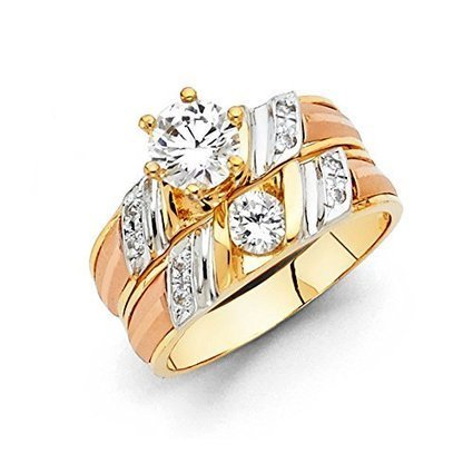 14k Tri Color Gold Engagement Ring and Wedding Band 2 Piece... | Jewelry Mall | Scoop.it