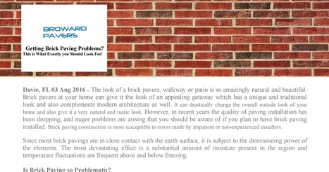 Getting Brick Paving Restoration Problems? This is What Exactly you Should Look For! | Shanu | Scoop.it