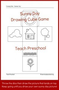 Sunny day drawing cube game   Free Printable   PreschoolSpot   Learn through Play - pre-K   Scoop.it