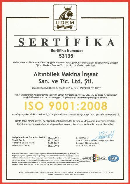 ISO Certificate | Altınbilek | Scoop.it