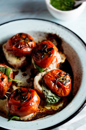 #HealthyRecipe - Roasted Caprese Tomatoes with Basil dressing | Healthy Recipes and Tips for Healthy Living | Scoop.it