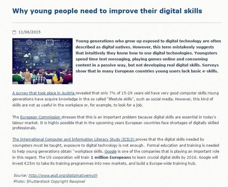 Why young people need to improve their digital skills | e-Skills | eLeadership | ICT | To learn or not to learn? | Scoop.it