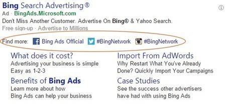Bing Publicité teste les extensions sociales pour lier les annonces aux profils sociaux - Arobasenet.com | TIC et TICE mais... en français | Scoop.it