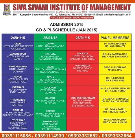 GD and PI dates | Siva Sivani Institute of Management | B school Awards | Scoop.it