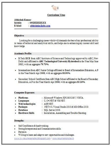 Resume Sample Resume For Freshers Engineers Computer Science Pdf Resume  Format For Freshers Engineers Free Download