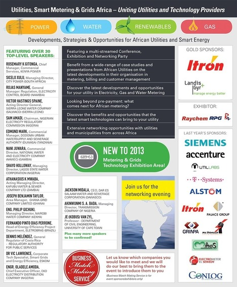 UTILITIES, SMART METERING & GRIDS AFRICA 2013 September 25th & 26th, Cape Town | ALL EVENTS - CARMEN ADELL | Scoop.it