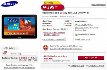 FutureShop Offers Samsung Galaxy Tab 10.1 Wi-Fi 16GB Version For $400 (SALE) - Os Bulletin | AndroidTuition | Scoop.it