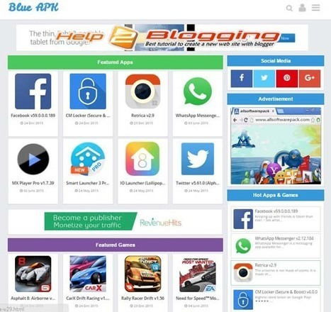 Blue APK Software Style Blogger Template Free Download - help2blogging | Blogger themes | Scoop.it