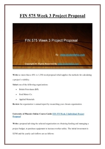 FIN 575 Week 3 Project Proposal   UOP Complete Course Tutorial   Scoop.it