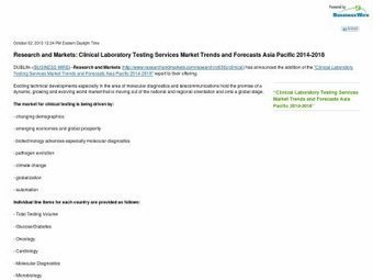 Research and Markets: Clinical Laboratory Testing Services Market Trends and Forecasts Asia Pacific 2014-2018 | Feel on | Testing Laboratory | Scoop.it