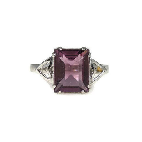 Art Deco Emerald Cut Amethyst Glass Sterling Silver Ring Size 7 Coombs Clark | Vintage Jewelry | Scoop.it
