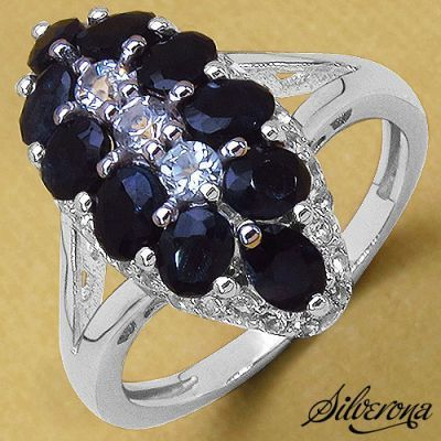 Weekly Super Sale : 2.87CTW Genuine Blue Sapphire & White Topaz .925 Sterling Silver Ring   Online Jewellery Shopping in India   Scoop.it