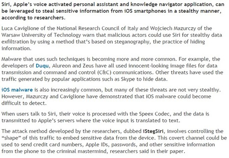 Researchers Use Siri to Steal Data From iPhones | Steganography | CyberSecurity | Apple, Mac, iOS4, iPad, iPhone and (in)security... | Scoop.it