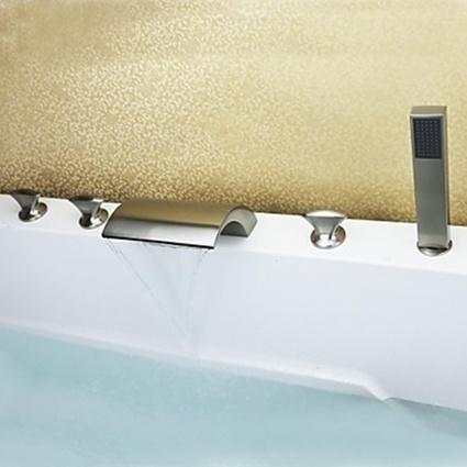 Handshower Included Ceramic Valve Contemporary Waterfall Nickel Brushed Bathtub Faucet with Three Handles-- Faucetsmall.com | Shower Faucets & Bathtub Faucets | Scoop.it
