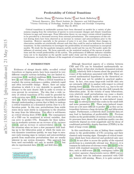 [1505.05738] Predictability of Critical Transitions | Complexity - Complex Systems Theory | Scoop.it