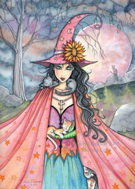 Witch Tabby Cats Autumn Fine Art Print by Molly Harrison 'Cat Lover' 9 x 12 Giclee | Halloween & Spooky Fun Stuff~ | Scoop.it
