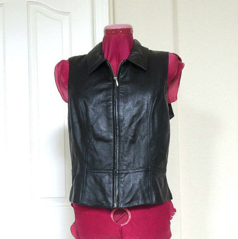 Vintage Soft Black Leather Zippered Vest with Collar and Flare Bottom by Wilsons | Etsy Vintage | Scoop.it