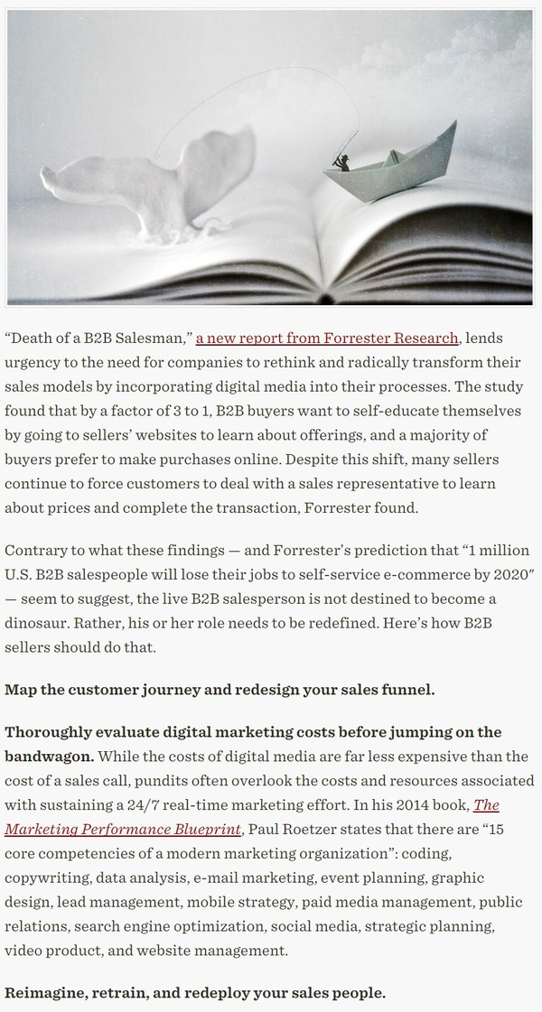B2B Salespeople Can Survive If They Reimagine Their Roles - HBR | The Marketing Technology Alert | Scoop.it