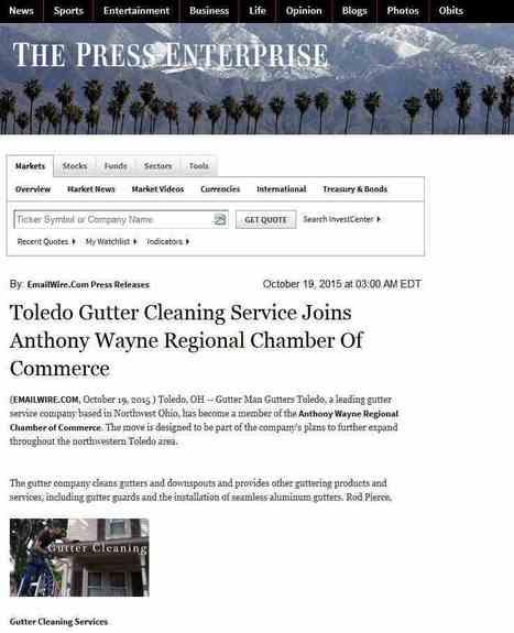 Toledo Gutter Cleaning Service Joins Anthony Wayne Regional Chamber Of Commerce | __PAGETITLE__ : Press Enterprise | Gutters-Toledo | Scoop.it