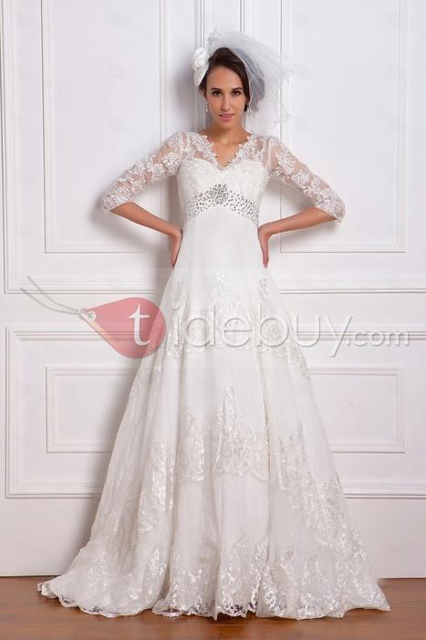 Fantastic Empire 3/4-Length Sleeve V-neck Lace Renata's Wedding Dress   wedding time   Scoop.it