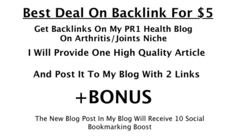 I will provide a 300 word report and post it to my PR1 Arthritis/Joints Blog For two Backlinks for $5 | My Links | Scoop.it