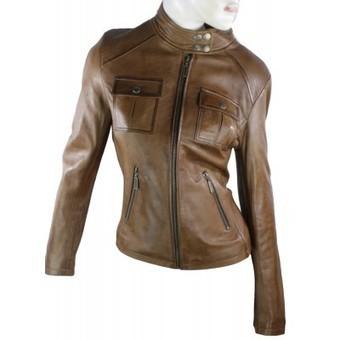100% Ladies Leather Jacket Washed Vintage Look Biker Rock Style Tan Brown | Womens Clothing | Scoop.it