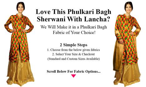 Phulkari Bagh Sherwani With Lancha-1   Talkingthreads   Scoop.it