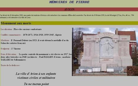 Article du jour (170) : Monument aux morts de la ville d'Avion (62210) | CGMA Généalogie | Scoop.it