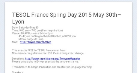 TESOL France Spring Day: May 30th Lyon | TELT | Scoop.it