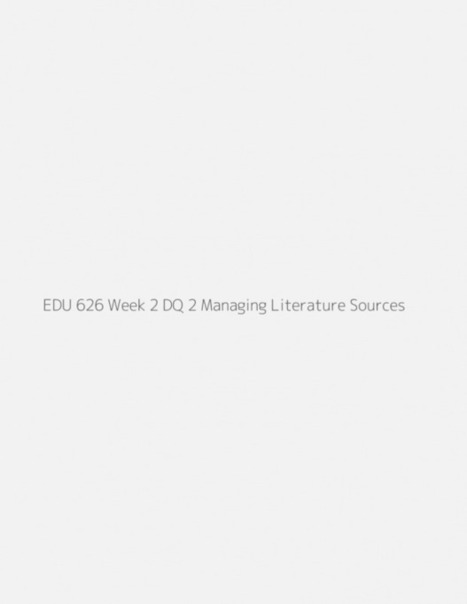 EDU 626 Week 2 Discussion Question 2 Managing Literature Sources | Research Capacity-Building in Africa | Scoop.it